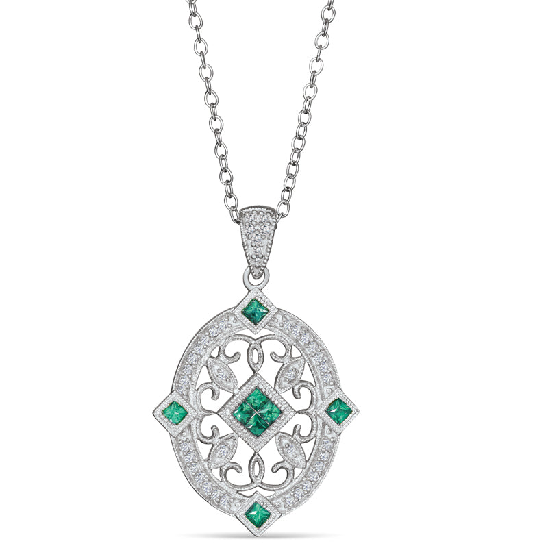 Sterling Silver Neckalce with Emerald and Diamond