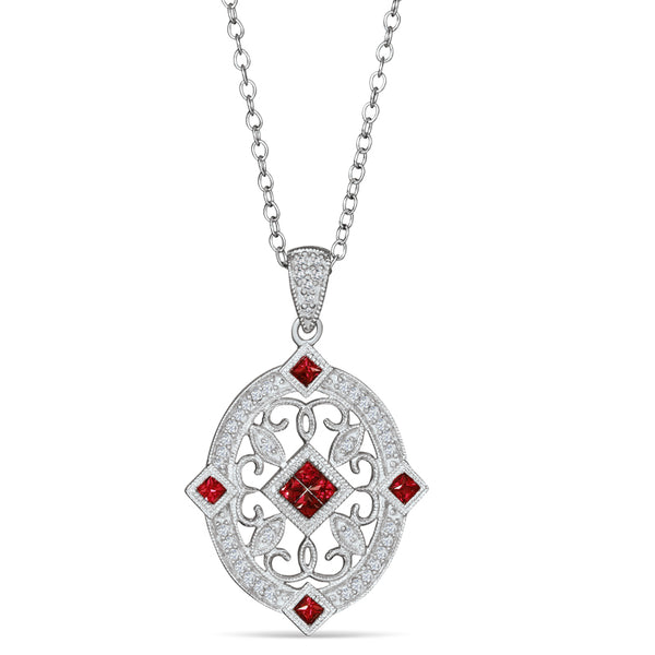 Sterling Silver Vintage Style Necklace with Ruby and Diamond