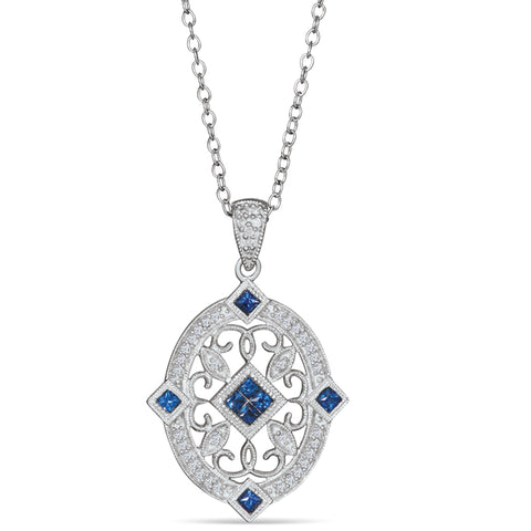 Sterling Silver Vintage Style Pendant with Sapphire and Diamond