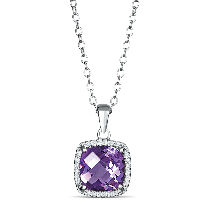 Sterling Silver Pendant with Amethyst and Diamond