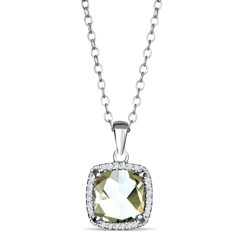 Sterling Silver Pendant with Green Amethyst and Diamond