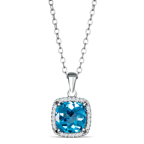 Sterling Silver Pendant with Blue Topaz and Diamond