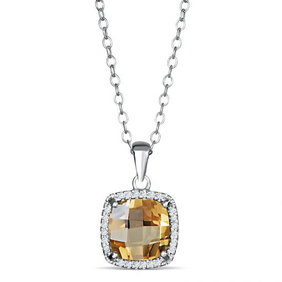 Sterling Silver Pendant with Citrine and Diamond
