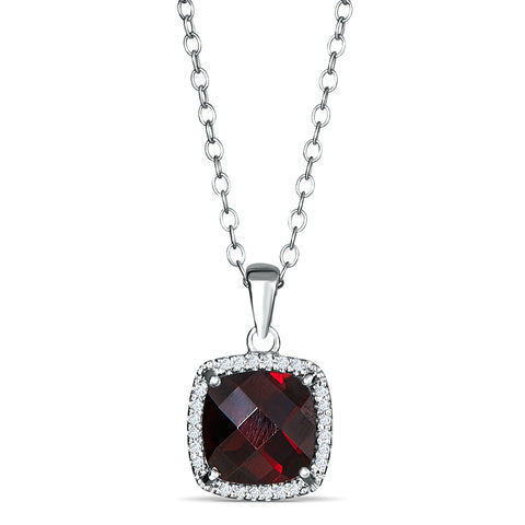 Sterling Silver Pendant with Garnet and Diamonds