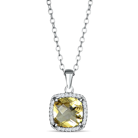 Sterling Silver Pendant with Lemon Quartz and Diamond