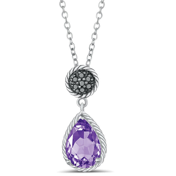 Sterlng Silver Necklace with Amethyst and Black Diamond