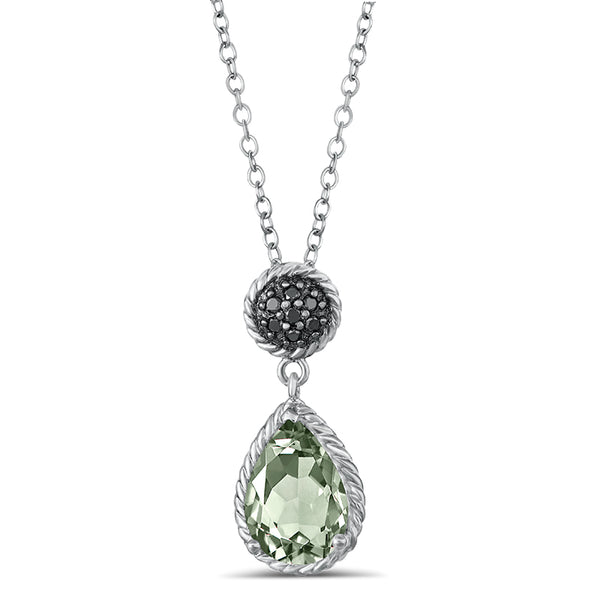 Sterling Silver Pendant with Green Amethyst and Black Diamond