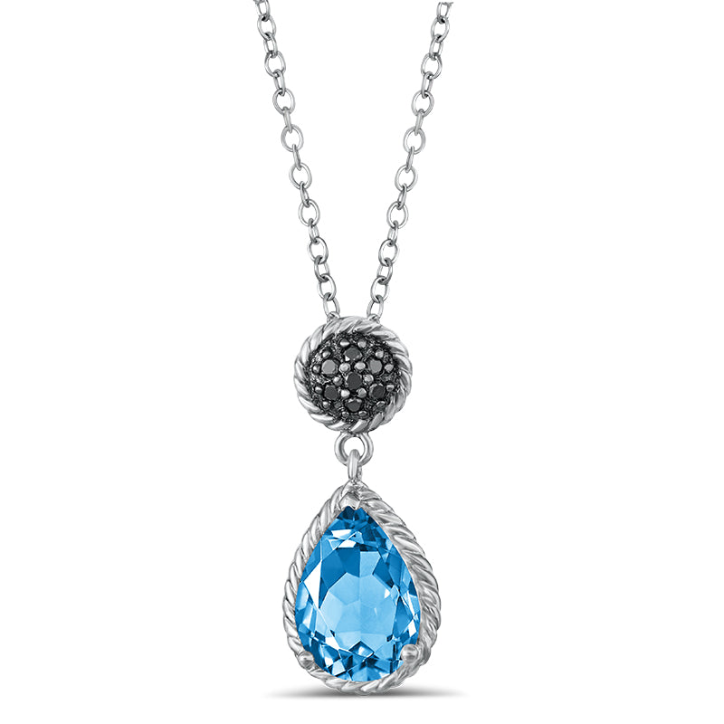Sterling Silver Pendant with Blue Topaz and Black Diamond