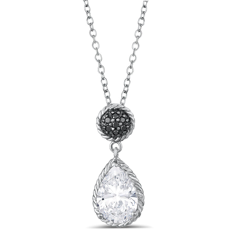 Sterling Silver Pendant with White Topaz and Black Diamond