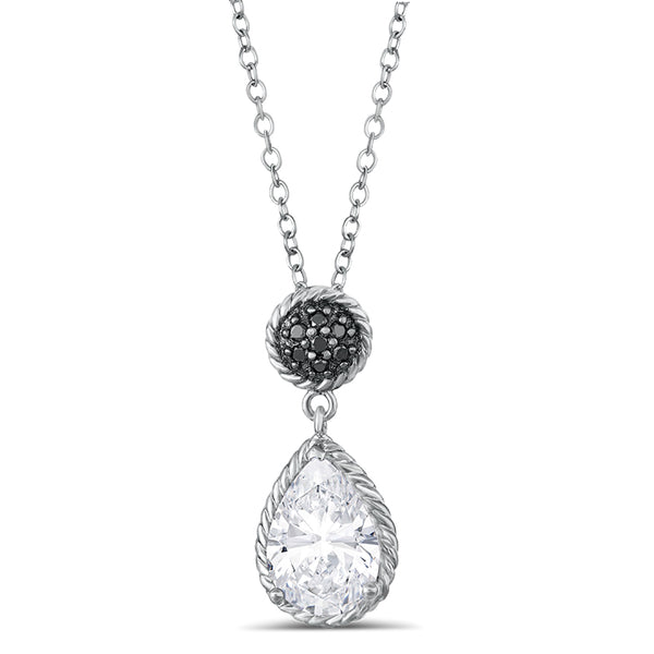 Sterling Silver Pendant with White Topaz and Diamond
