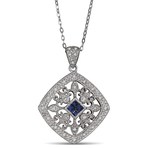 Sterling Silver Pendant with Sapphire and Diamonds
