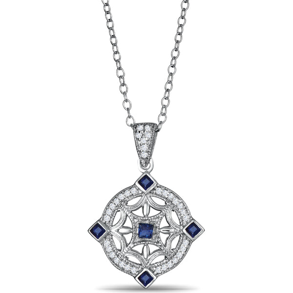 Sterling Silver Pendant with Sapphires and Diamonds