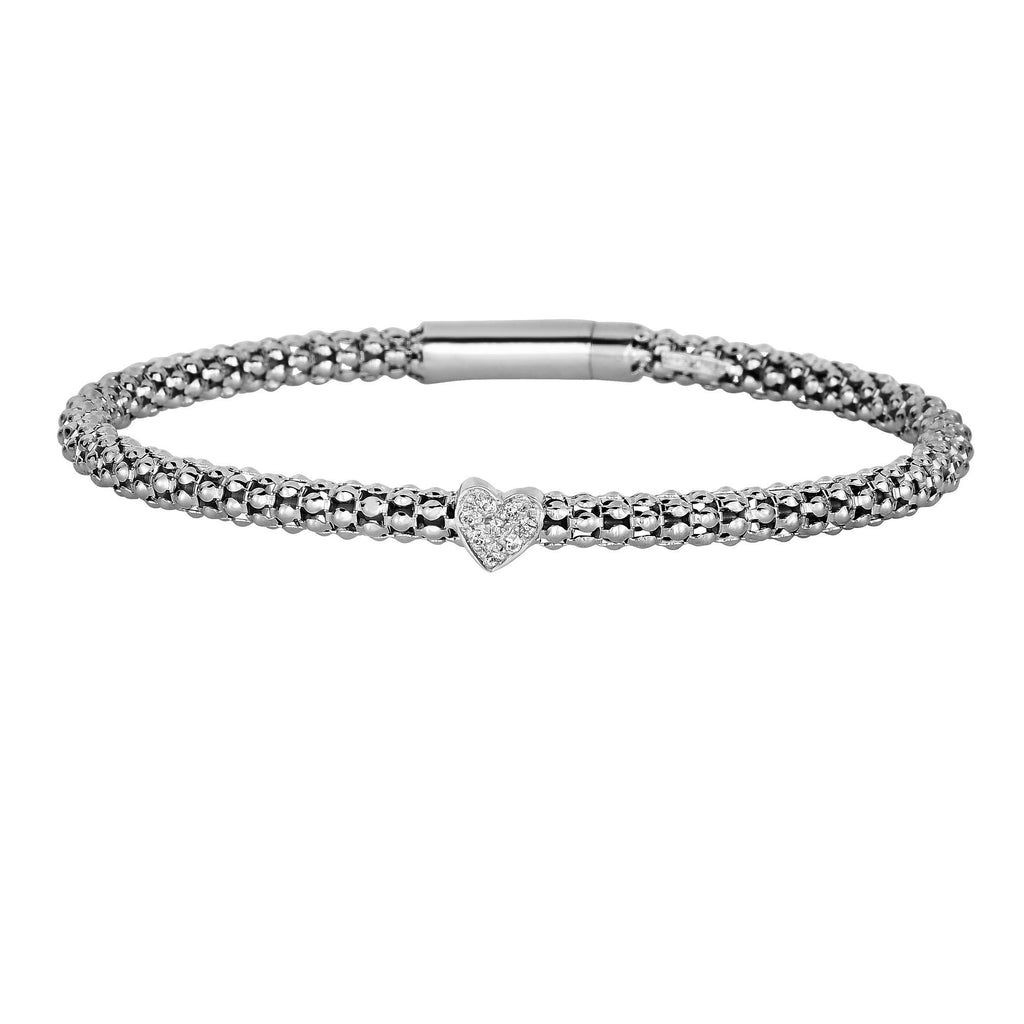 Silver 7.25 incheswith Rhodium Finish 3mm Popcorn Bangle with 0.08ct.Diamond Cluster 4mm Heart Element with Box Clasp