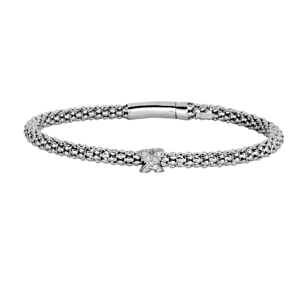 Silver 7.25 inches with Rhodium Finish 3mm Popcorn Bangle with 0.09ct.Diamond Cluster 4mm  inchesX inches Element with Box Clasp