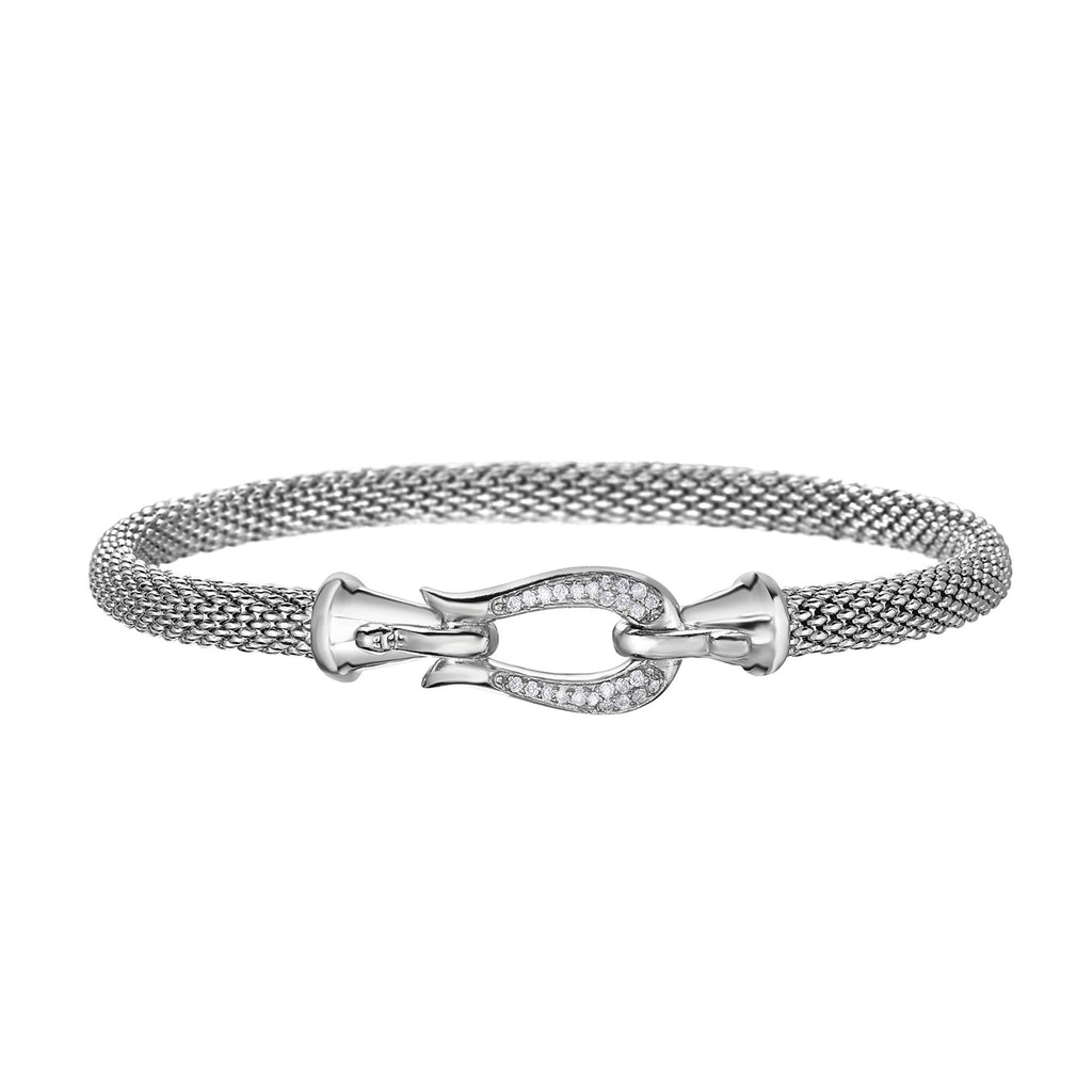 Sterling Silver 7.25 inches with Rhodium Finish 4.7mm Shiny Tube Popcorn Bangle with Hook Clasp+0.1300ct White Diamond