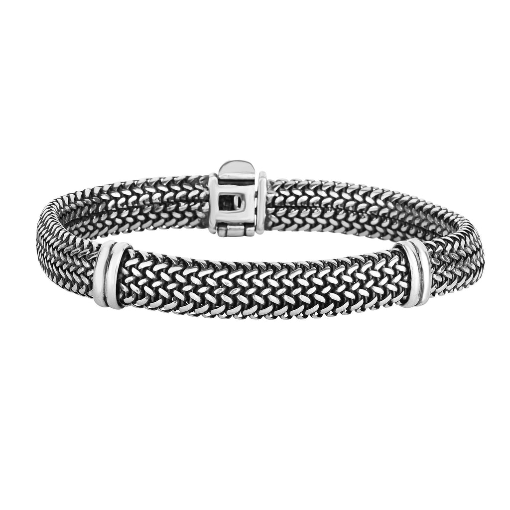 Silver 7.25 inches with Oxidized Finish 9mm Domed Woven Bracelet with Bar Station Element with Snap Clasp