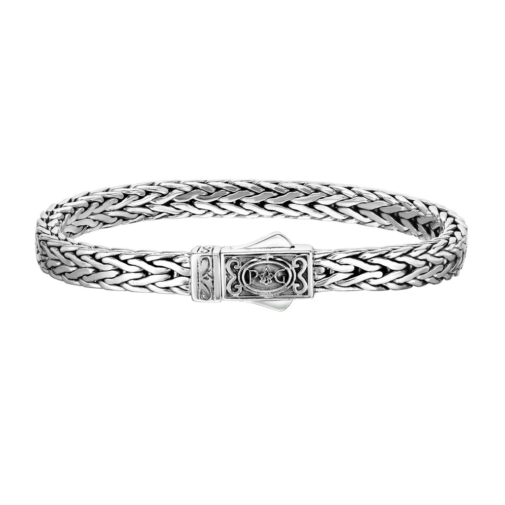 Sterling Silver 7.5 inches with Oxidized+Rhodium Finish 4x7mm Shiny Square Woven Bracelet with Box Clasp