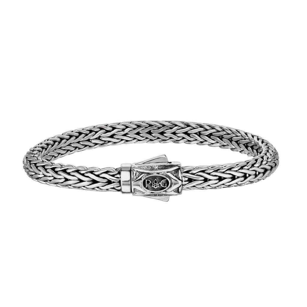 Sterling Silver 7 inches with Oxidized+Rhodium Finish 4x7mm Shiny Dome Woven Bracelet with Box Clasp