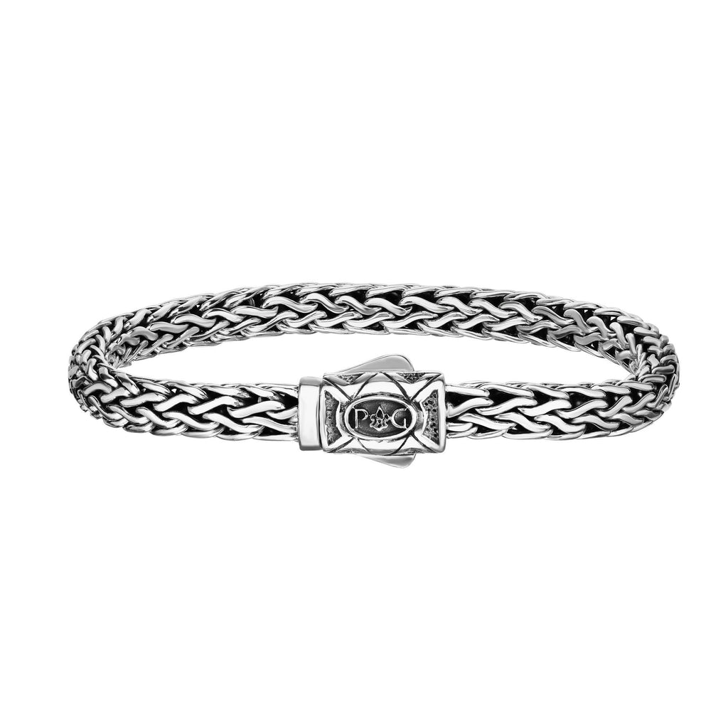 Sterling Silver 7.5 inches with Oxidized+Rhodium Finish 7mm Shiny Dome Woven Bracelet with Box Clasp