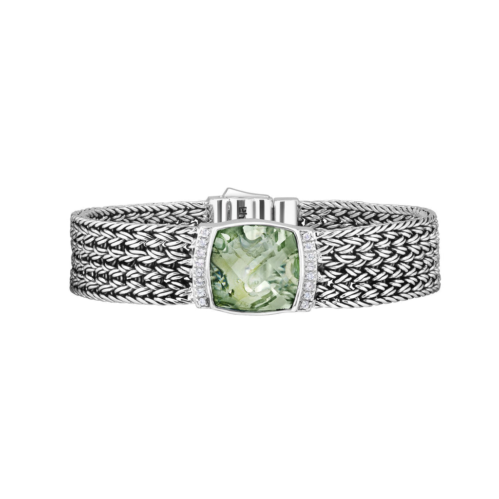 Sterling Silver 7.25 inches with Rhodium Finish 2x15mm Shiny Square Woven Bracelet with Box Clasp+14.0200ct 16x16mm Cushion Briolette Green Amethyst+0.2400ct 1.5mm Round White Sapphire
