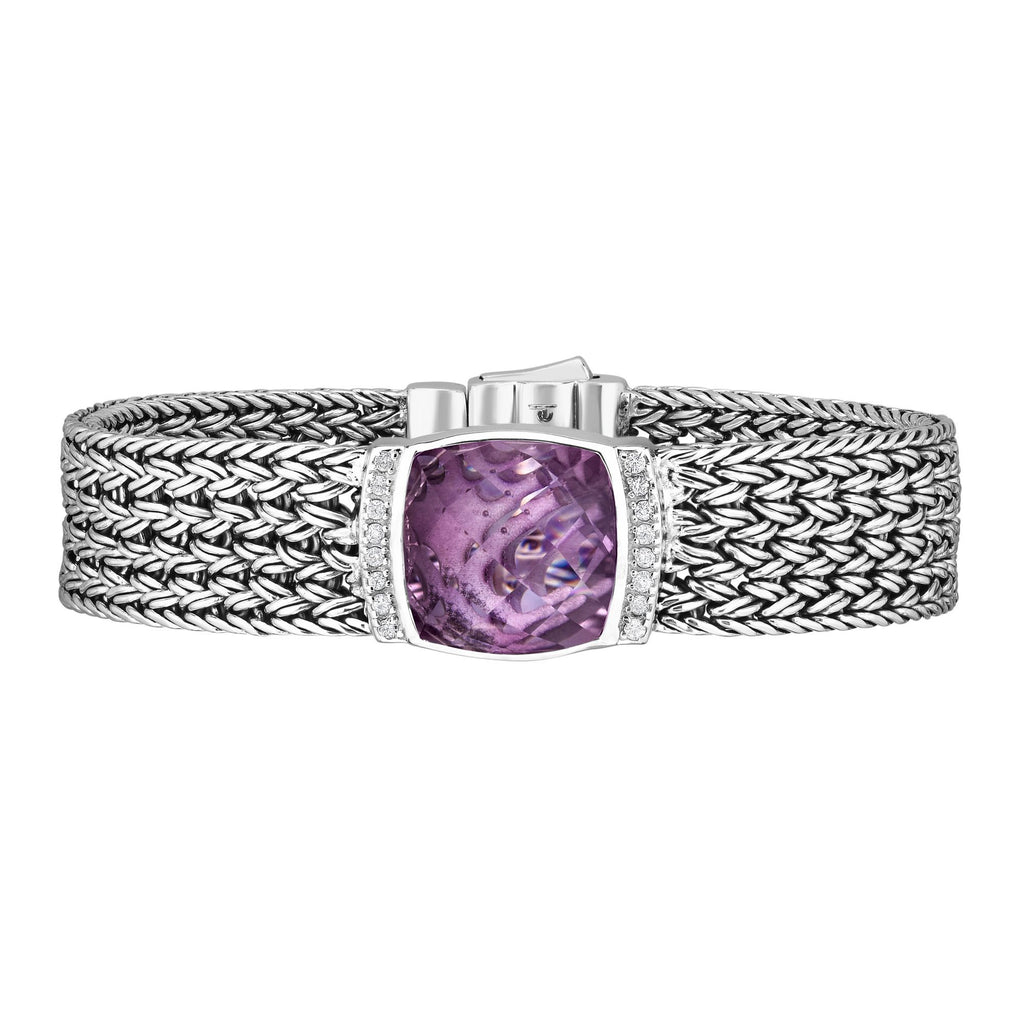 Sterling Silver 7.25 inches with Rhodium Finish 14mm Textured Flat Woven Bracelet with Box Clasp+13.8000ct 16x16mm Cushion Pink Amethyst+0.2400ct 1.5mm Round White Sapphire