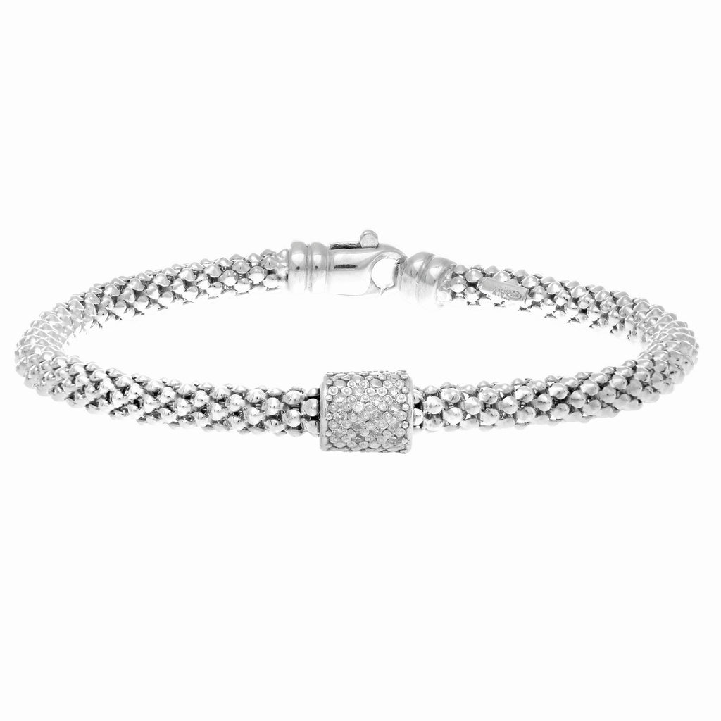 Silver 7 inches Rhodium Finish 4.5mm Popcorn Bracelet with Lobster Clasp+1 Station Barrel with 14- -0.10ct White Diamond  inches Collection