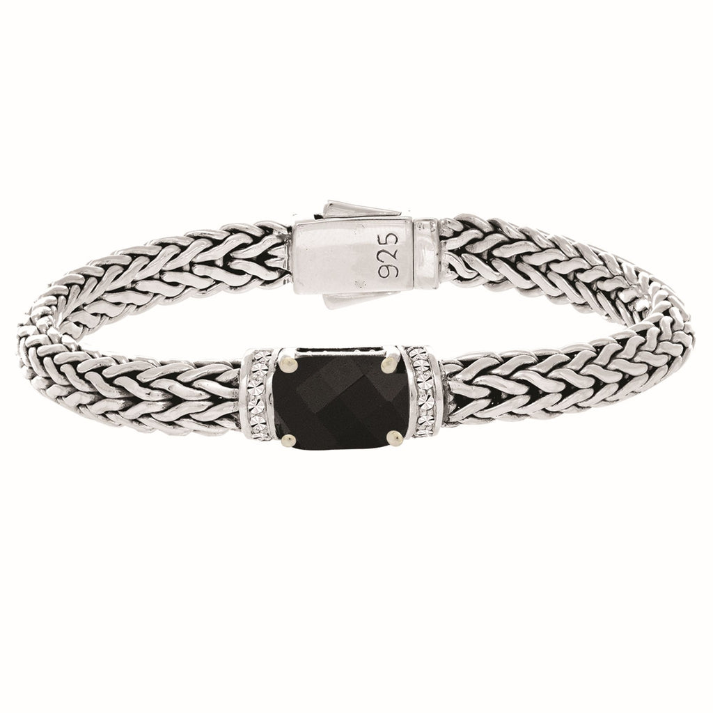Sterling Silver 7.5 inches 7x14mm Dome Weave Bracelet with 9x11 Faceted Black Onyx+1.6 mm White Sapphire