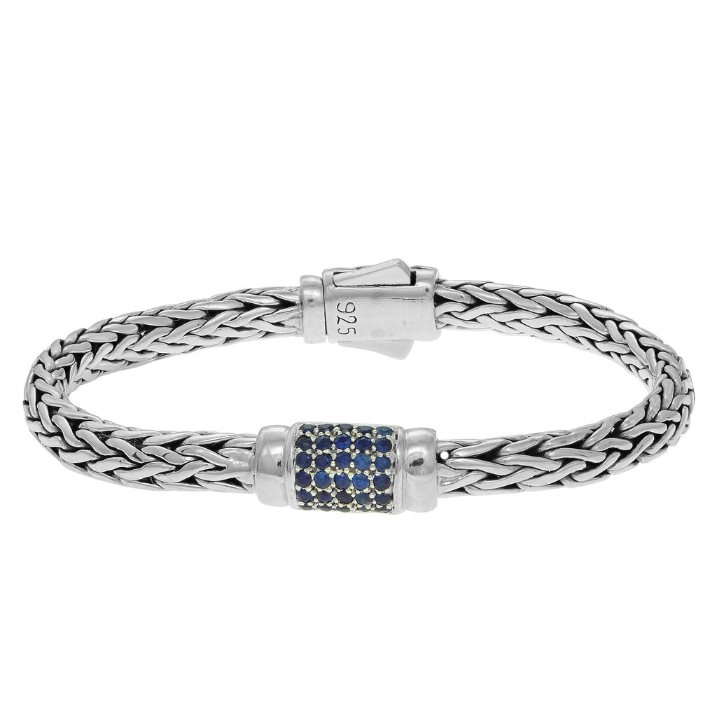 Sterling Silver 7.5 inches 4x6mm Oval Weave Bracelet with Round Faceted 1.5mm Blue Sap phire Grid