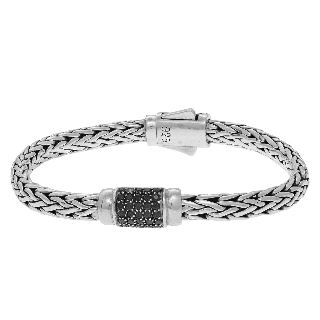 Sterling Silver 7.5 inches 4x6mm Oval Weave Bracelet with Round Faceted 1.5mm Black Sa pphire Grid