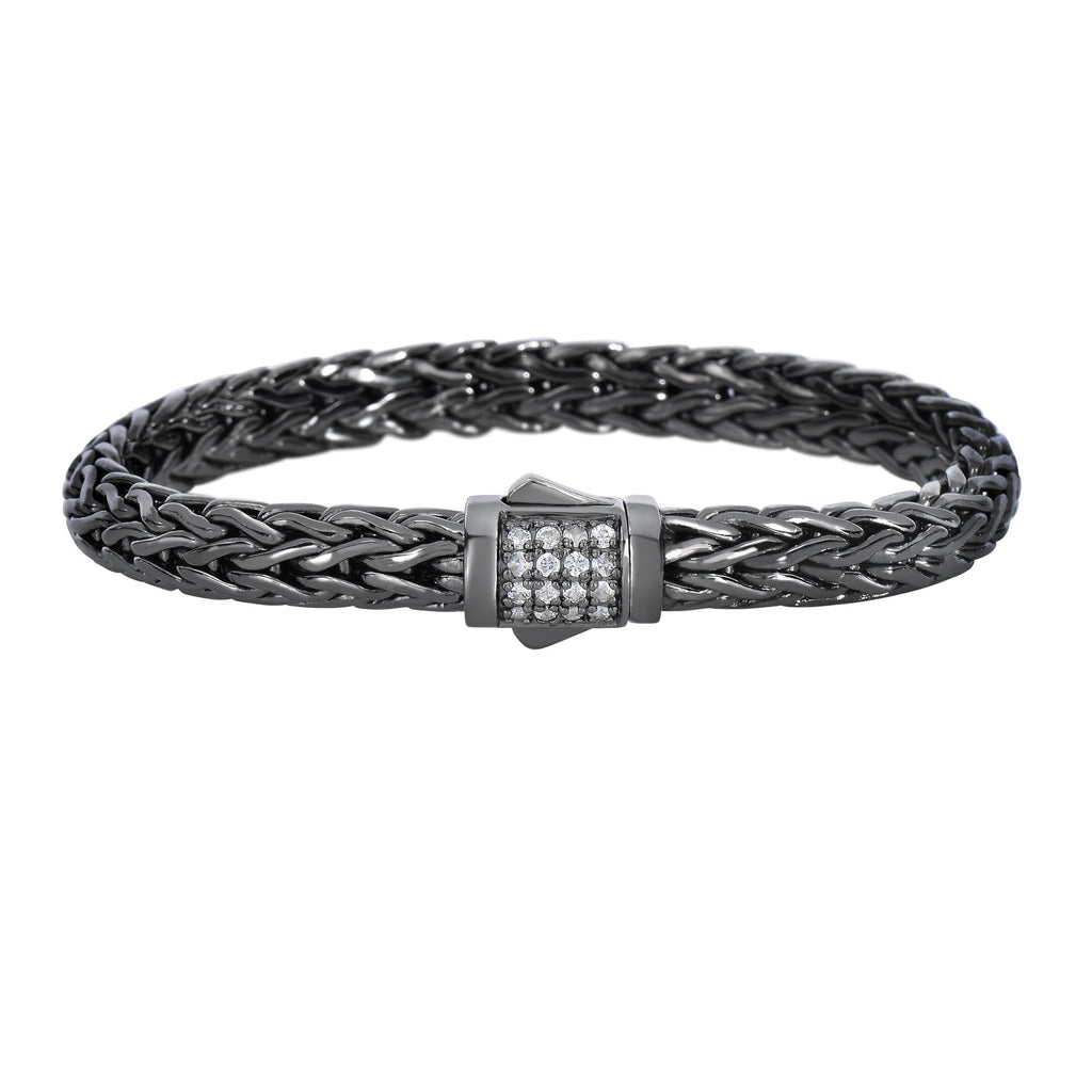 Silver 7.5 inches Black Rhodium Finish Weave Bracelet with White Sapphire and Fancy Box Clasp