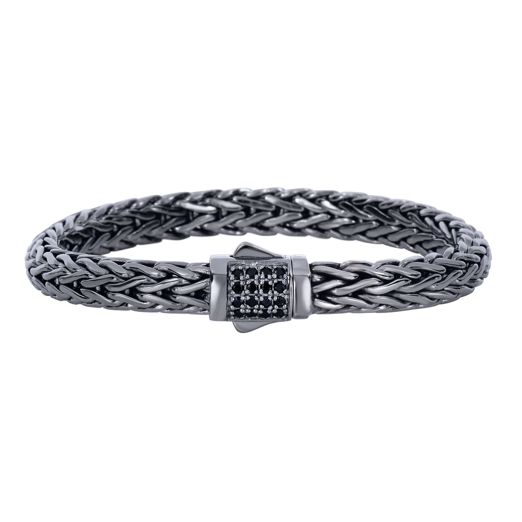 Silver 8.5 inches Black Rhodium Finish Weave Bracelet with Black Sapphire and Fancy Box Clasp
