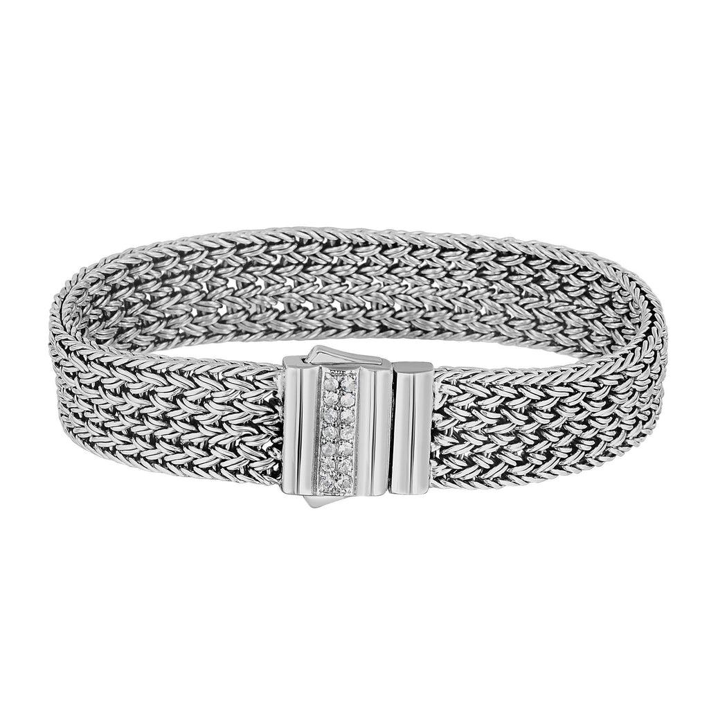 Silver 7.25 inches Rhodium Finish 15mm Shiny 1.8mm (0.322ct)Round Faceted White Sapphire Designer Woven Bracelet with Fancy Rectangle Box Clasp