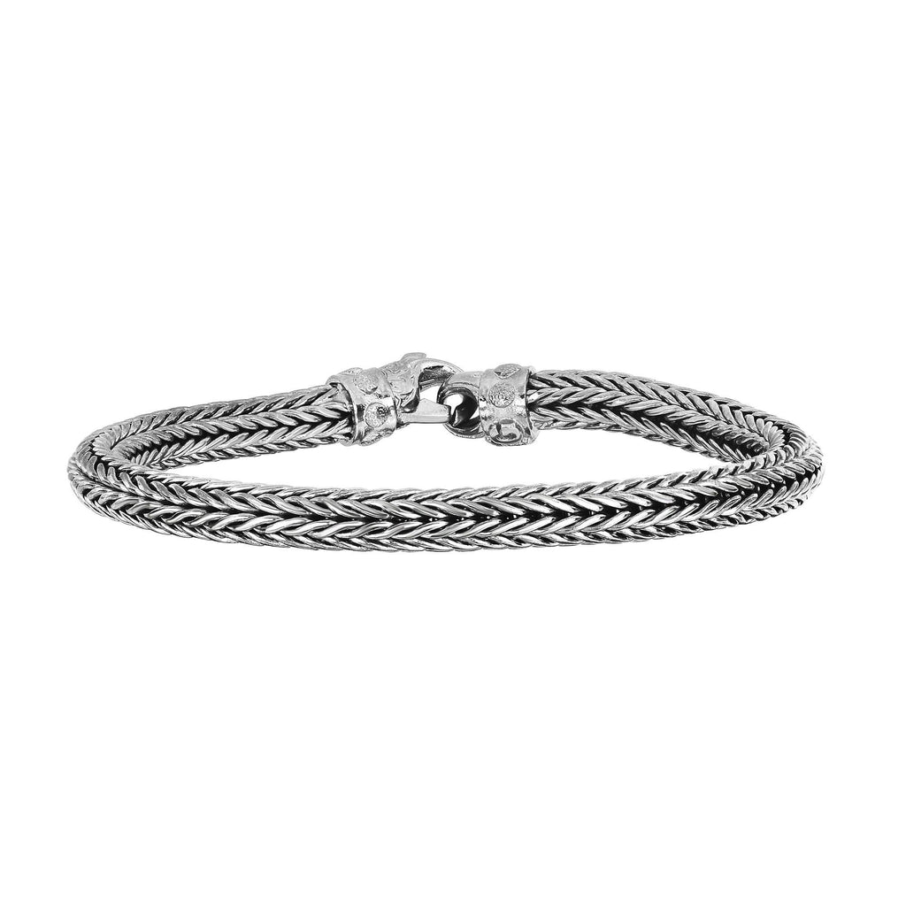 Silver 8.5 inches Rhodium Finish 6mm Shiny Designer Round Woven Bracelet with Fancy Lobster Clasp