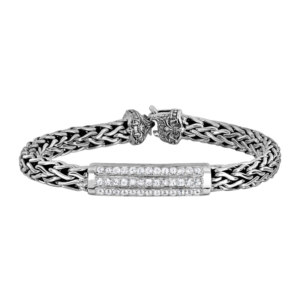 Silver 7.25 inches with Rhodium Finish 7mm Shiny Domed Woven Bracelet with Center Curve Bar with White Sapphire with Lobster Clasp