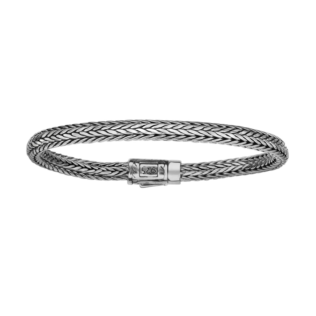 Silver 5.5 inches Rhodium Finish 3.5x2mm Domed Woven Baby Bracelet with Box Clasp
