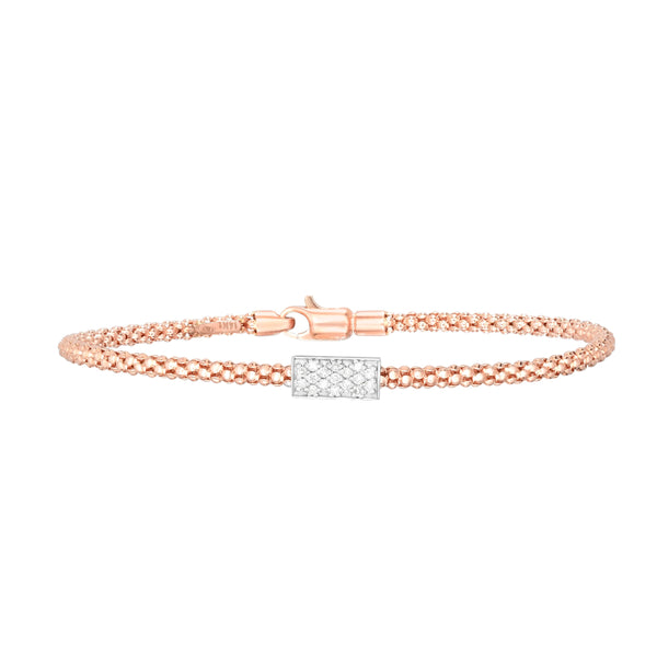 14kt Gold 7.25 inches Rose Finish 4.8mm Polished Popcorn Bracelet with Lobster Clasp with 0.1700ct 1.3mm White Diamond