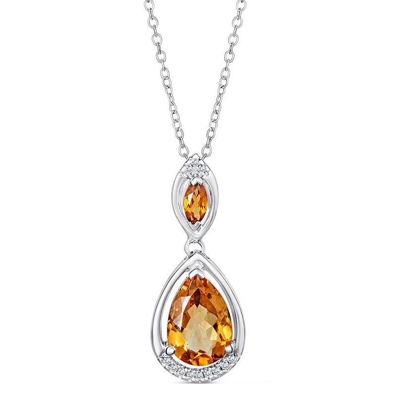 Sterling Silver Pendant with Citrine and Diamonds