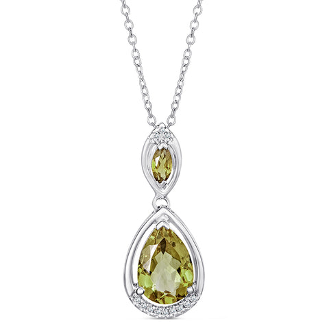Sterling Silver Necklace with Lemon Quartz and Diamond