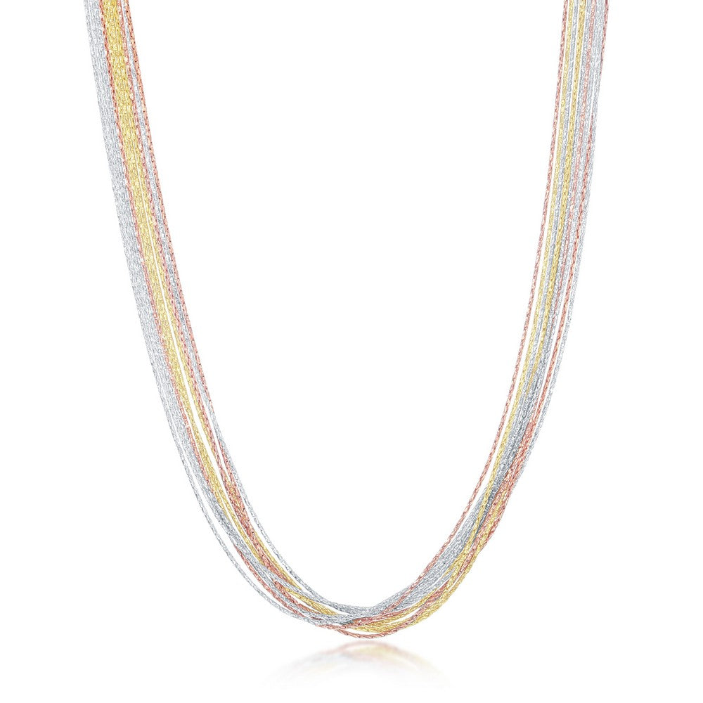 Sterling Silver 10 Strand Sparkling Necklace - Tri Color