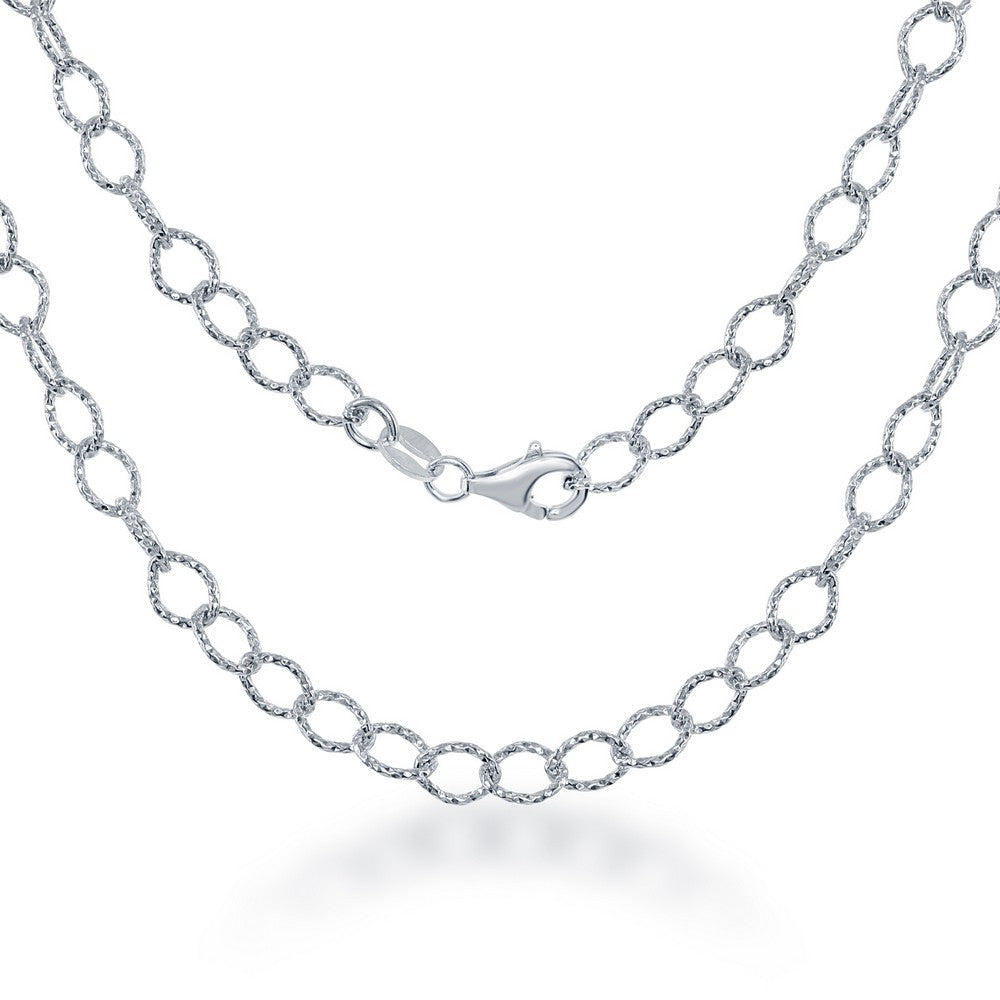 Sterling Silver  Diamond Cut Rolo Link Chain - Rhodium Plated