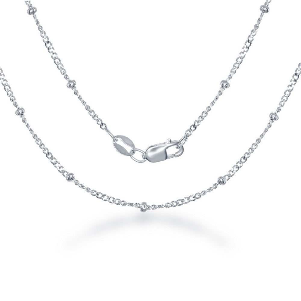 Sterling Silver 2.3mm Diamond Cut Cuban With Beads Chain - Rhodium Plated
