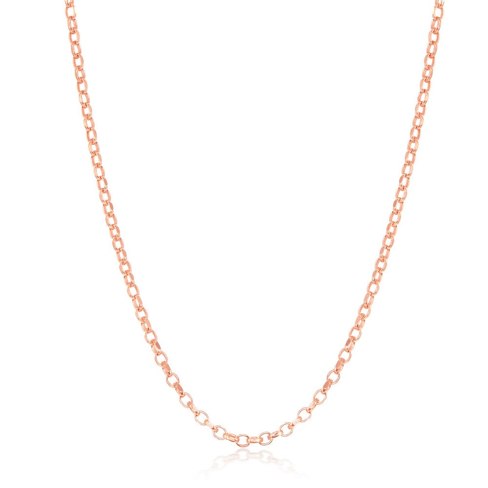 Sterling Silver 1.4mm Cable Chain - Rose Gold Plated