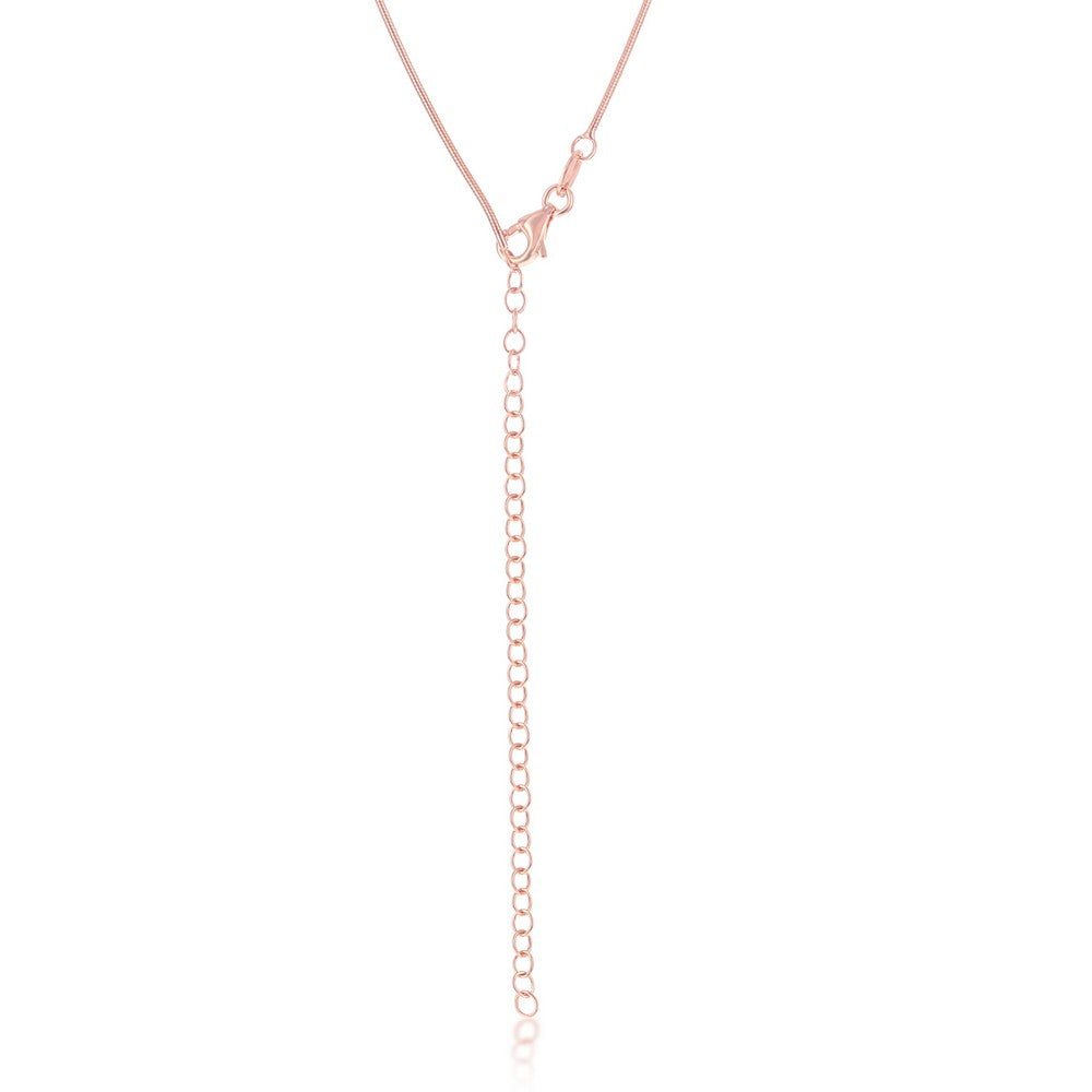 Sterling Silver 1mm Snake Chain - Rose Gold Plated