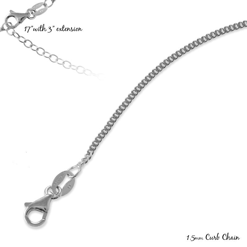 Sterling Silver 17+3'' 1.5mm Curb Chain - Rhodium Plated