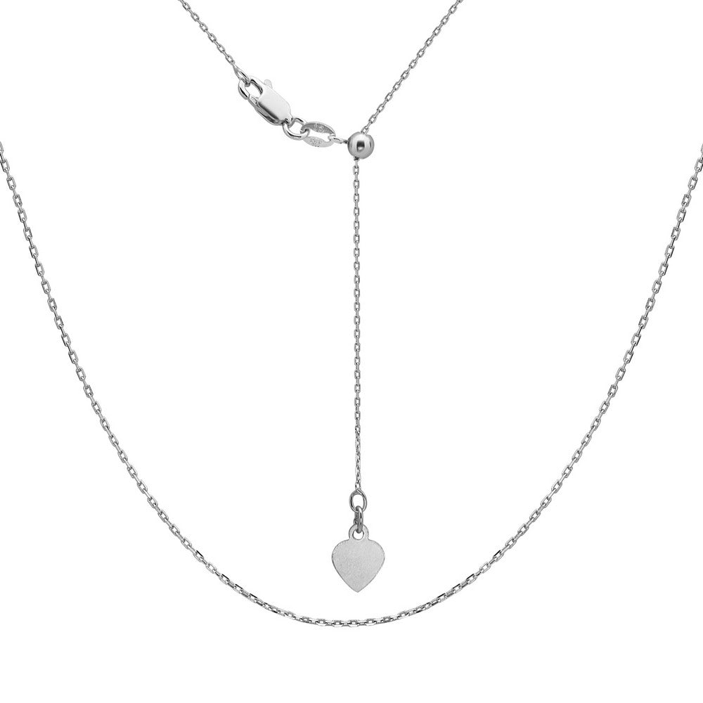 Sterling Silver Adjustable Cable Chain - Rhodium Plated