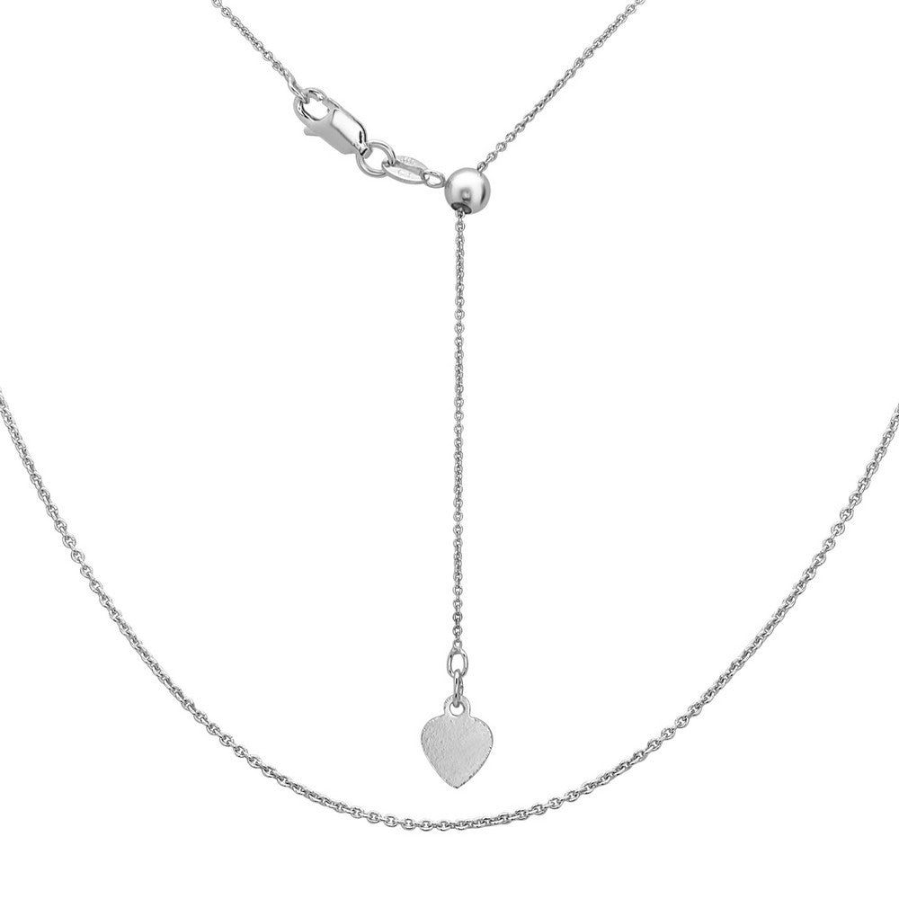 Sterling Silver Adjustable Rolo Chain - Rhodium Plated