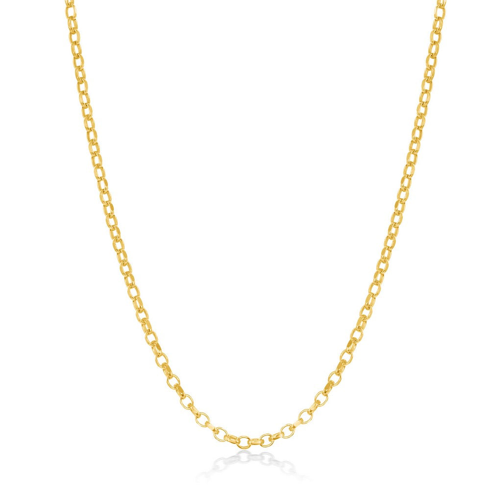 Sterling Silver Diamond-Cut Rolo Chain - Gold Plated
