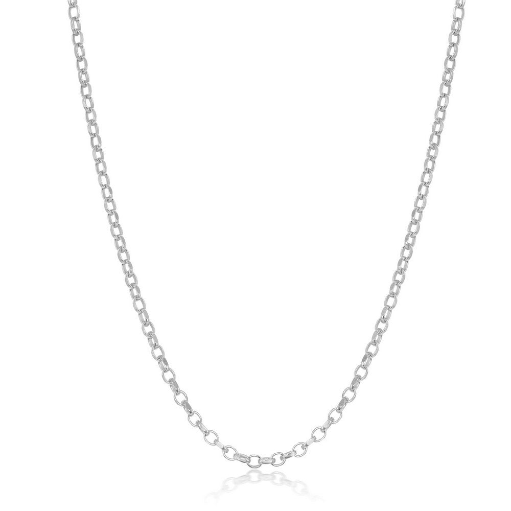 Sterling Silver Diamond-Cut Rolo Chain - Rhodium Plated