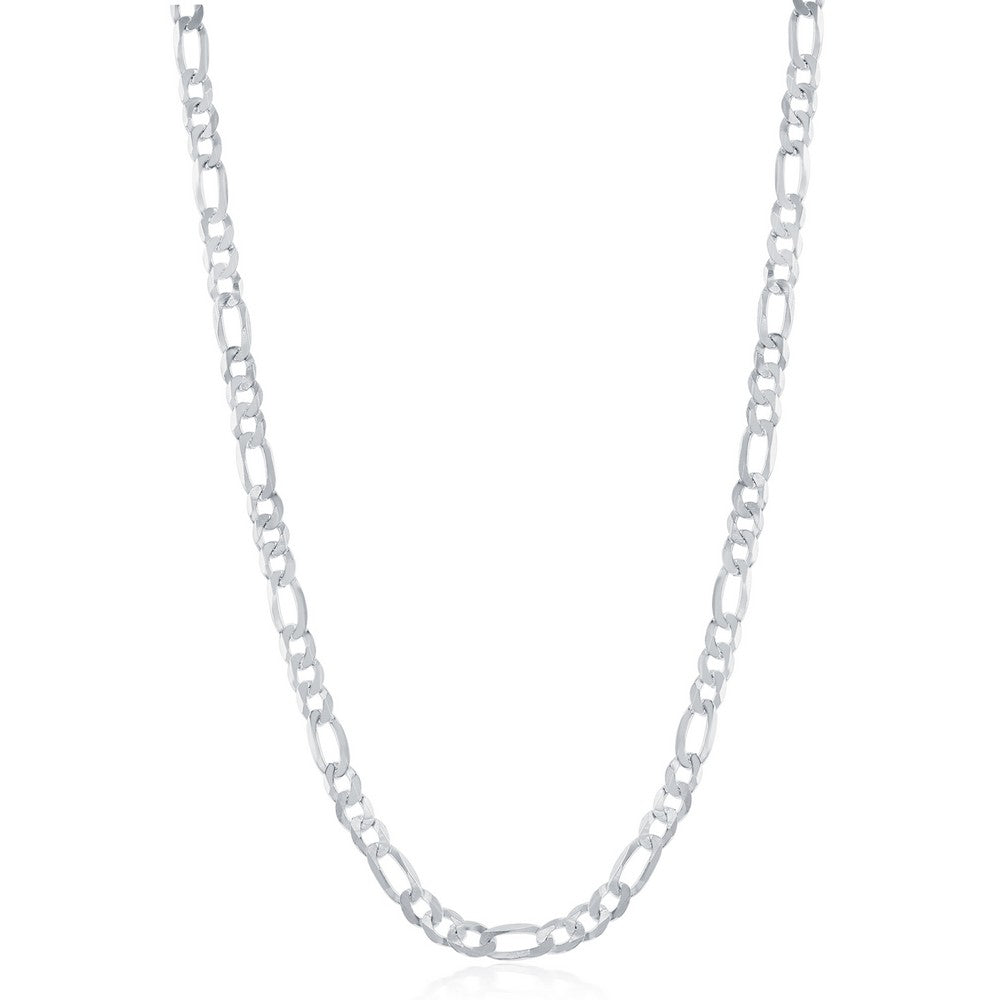 Sterling Silver 3.3mm Figaro Chain - Rhodium Plated