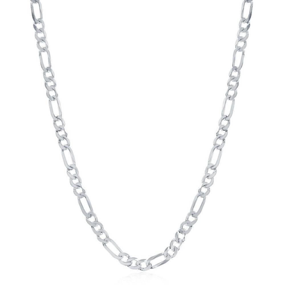 Sterling Silver 4.2mm Figaro Chain - Rhodium Plated